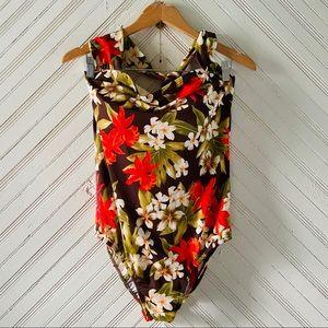 Vintage Tropical Floral One Piece Swimsuit